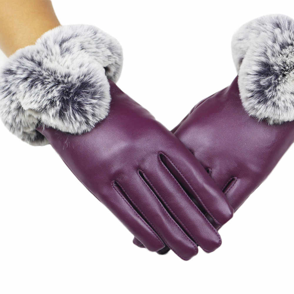 ถุงมือหนังผู้หญิงฤดูใบไม้ร่วงฤดูหนาว WARM Rabbit FUR ถุงมือถุงมือคุณภาพสูงแฟชั่นถุงมือผู้หญิง 2019 # BL5