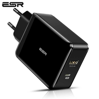 ESR USB C Charger 30W Dual Port Charger Power Delivery Wall Charger with Foldable Plug PD 18W Port for iPhone XS/XR/XS Max iPad