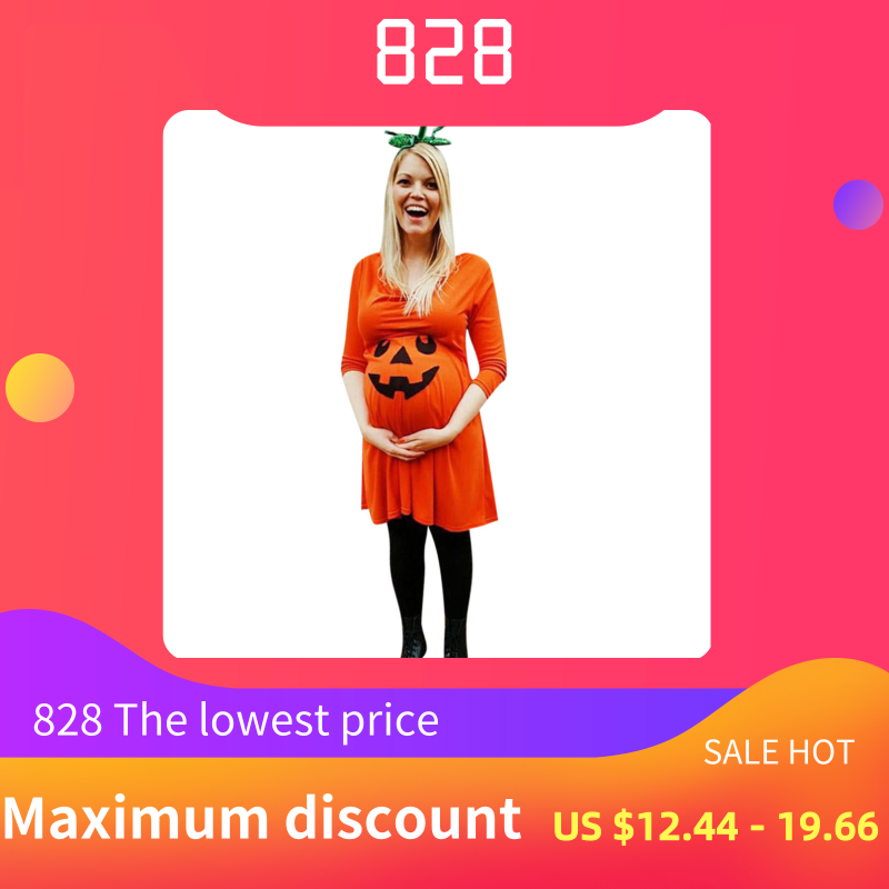 Pregnant Womens Winter Clothes Nursing Nightgown Pregnancy Halloween Devil Print Dress Maternity Clothes Ropa Para Embarazada