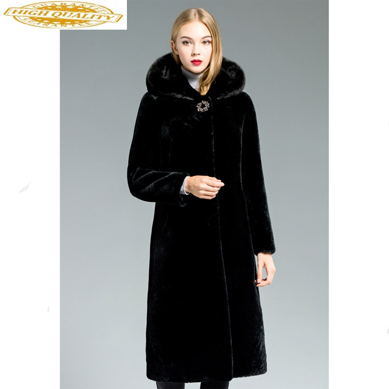 Double Faced Fur Coat Female Natural Sheep Shearling Fur Coats Winter Jacket Women Luxury Mink Fur Collar Wool Fur Coat