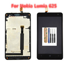 цена на Top quality 100%New LCD For Nokia Lumia 625 LCD Screen with Touch Screen Display Digitizer Assembly With Frame