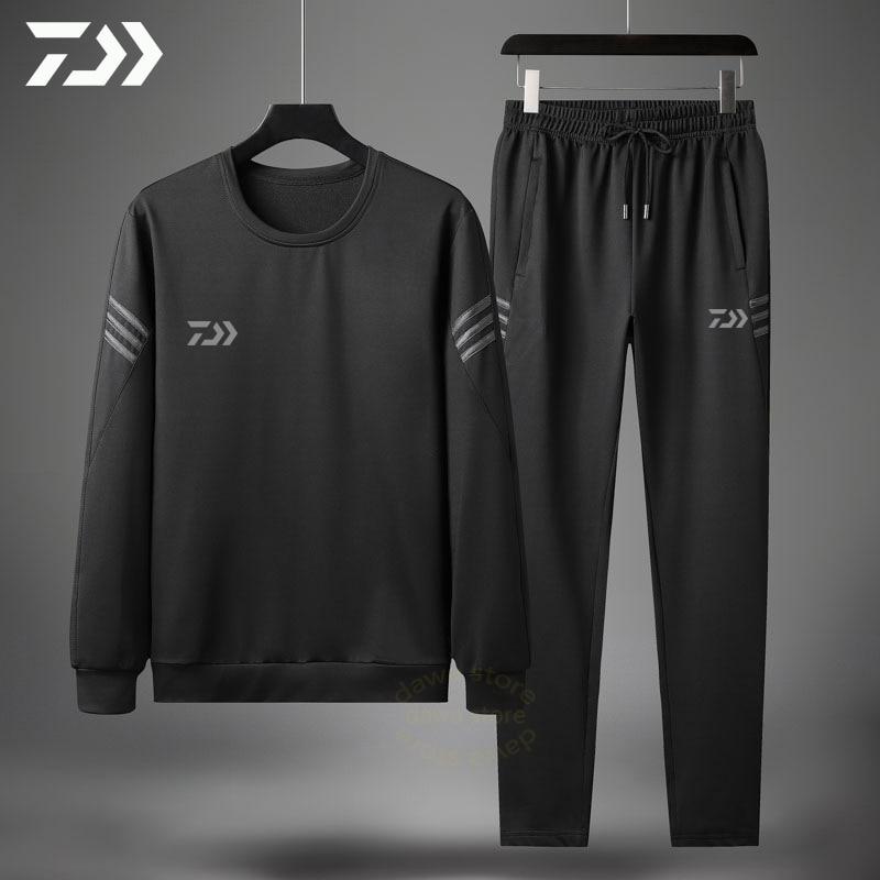 Daiwa Spring Autumn Fishing Suits Outdoor Sport Fishing Set Striped Fishing Clothing Men Sportswear Fishing Jacket Pants Suit