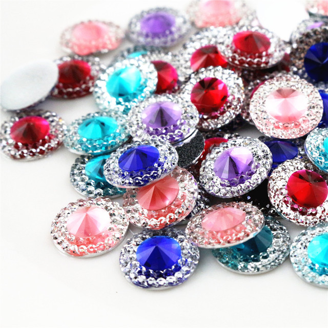 New Fashion 40pcs 10mm 12mm Mixed Color Flat Back Resin Cabochons Cameo Handmade Spacers For Diy Jewelry Making Supplies 1