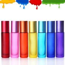1/5/10 sztuk 10ml przenośne matowe kolorowe grube szkło Roller olejek buteleczki do perfum podróży wielokrotnego napełniania butelka Rollerball