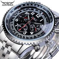 Jaragar piloto homens relógio automático preto 3 dial multifunções data relógio esporte de aço mecânico marca superior luxo masculino pulso