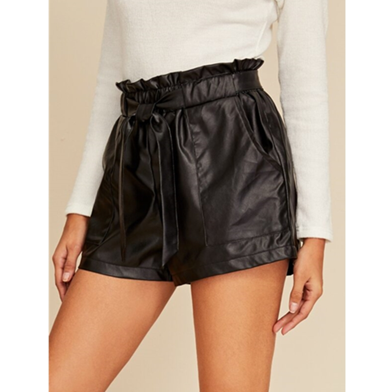 2020 New Women Sexy Black PU Leather Shorts PVC Wet Look High Waist Ruffle Lace Up Shorts Ladies Bottom Short Trousers Plus Size