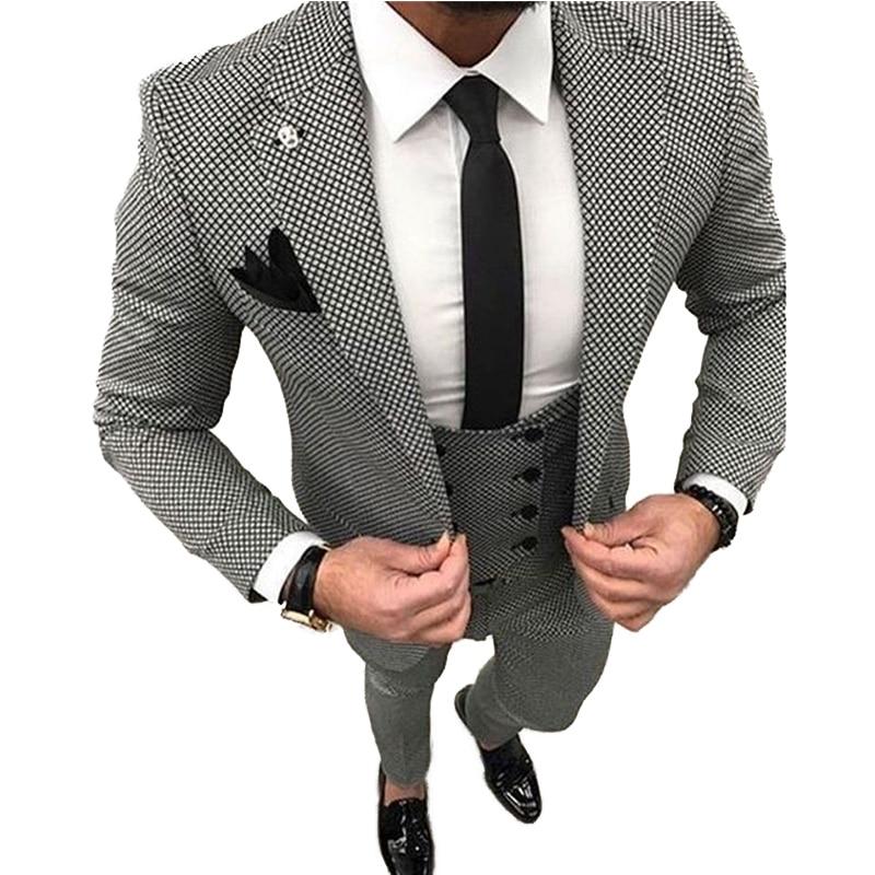 There Piece Men's Suit Suits For Groom  Best Man Business  Dinner Wedding Prom Dress (Jacket+Pants+Vest)
