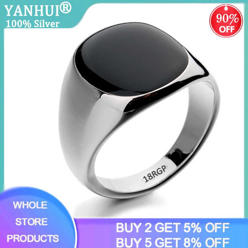 YANHUI למעלה איכות שחור אבן טבעת עם 18 18KRGP חותמת 18K זהב צבע נדיר טבעי אוניקס רן טבעות עבור גברים נשים בציר תכשיטים