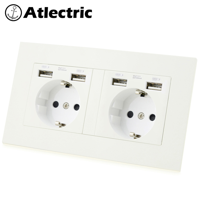 Atlectric DE EU Plug Power Socket Dual USB Charging Port Power Adapter Double Wall Socket PC Panel Outlet 146mm*86mm