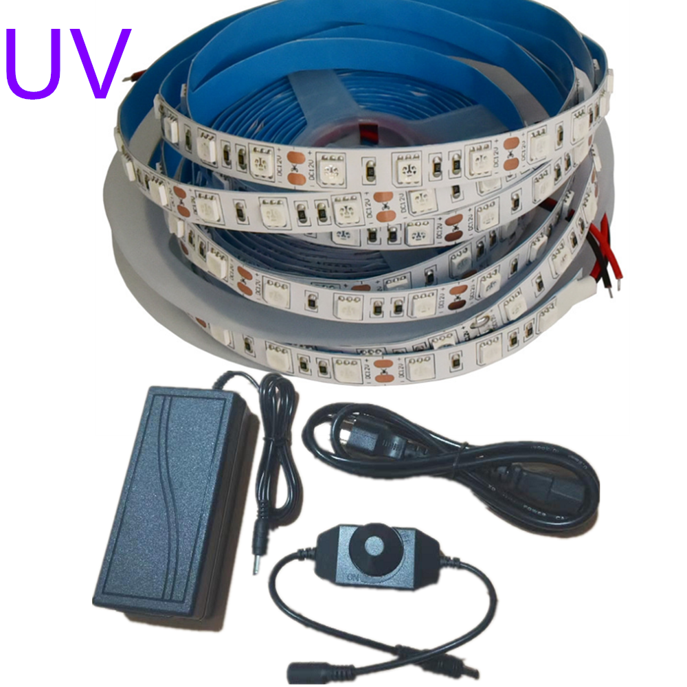 Uv Led Strip Light 395-405nm Ultraviolet Flexible Tape 5050 12V Nail Disinfection Body Painting Fluorescent Lamp Banknote Lights