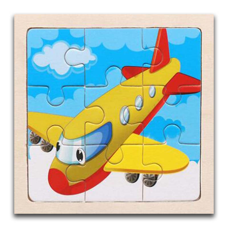 3D Paper Kids Children's Baby Early Childhood Educational Toys Cartoon Aircraft Wooden Small 9-Piece Jigsaw Puzzle 1-3-Year-Old