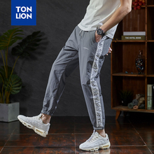 TONLION Elastic Waist Pants for Men Stripe Splicing Full Length Pants Mens Fashions Men Sport Lightweight Spring Summer 2020 New