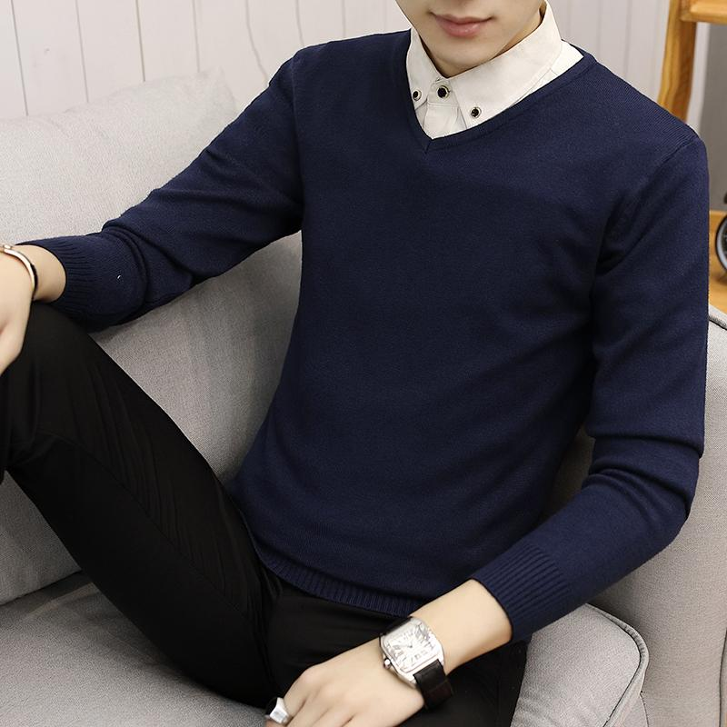 New Slim Knitted Cashmere Wool Sweater Men Tops Pullovers Autumn Winter Warm Casual Solid Color V-Neck Full Sleeve Pull