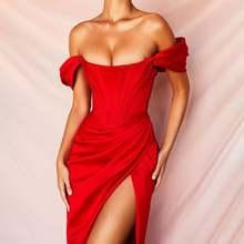 Летнее красное сексуальное платье с глубоким v образным вырезом
