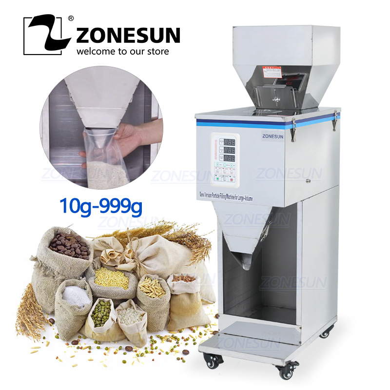 ZONESUN Food Racking Machine Granular Powder Materials Weighing Packing Machine Filling Machine 10-999g For Seeds Coffee Bean