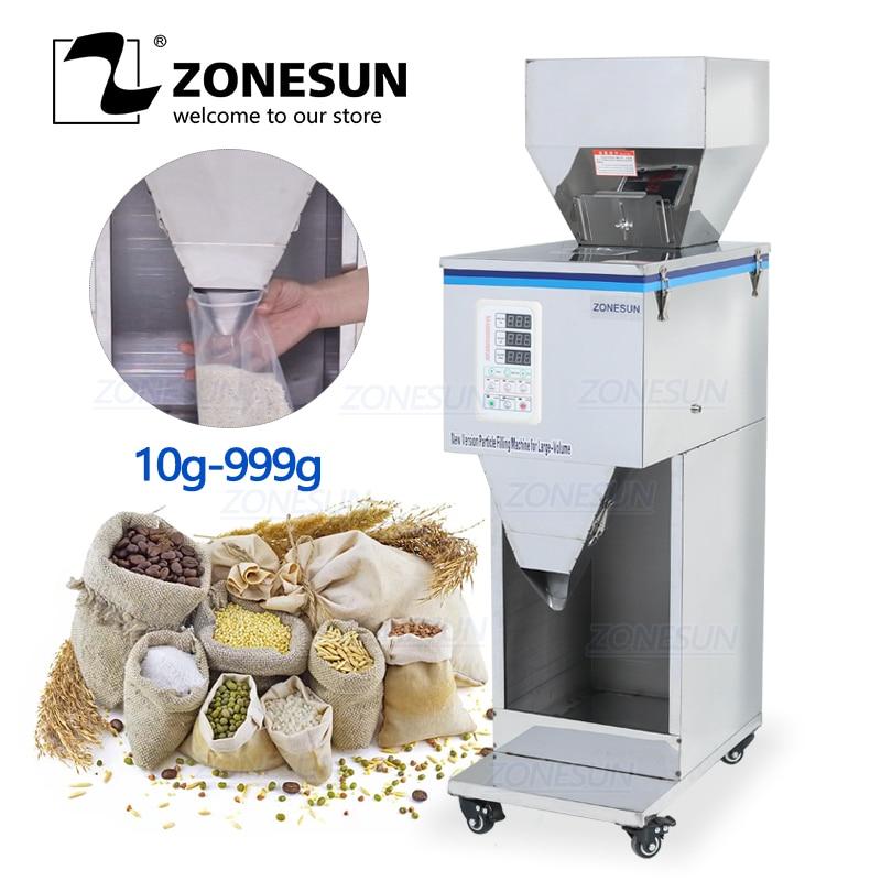 ZONESUN Food Racking Machine Granular Powder Materials Weighing Packing Machine Filling Machine 10-999g For Seeds Coffee Bean
