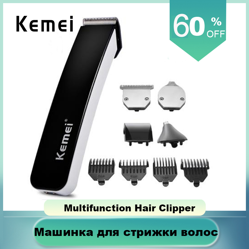 Kemei Electric Hair Beard Trimmer4 In 1 Clipper Rechargeable Battery Cutting Machine With 4 Limit Combs Portable Cordless Barber