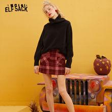 ELFSACK Red Plaid Leather Patchwork Pocket Mini Skirt Women 2020 Winter New Colorblock Skinny Female Warmness Woolen Skirts