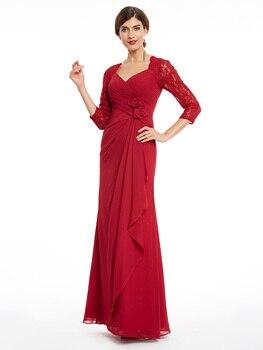 Dressv three quarter sleeves evening dress v neck burgundy flowers lace dresses women party pleats straight long evening gown