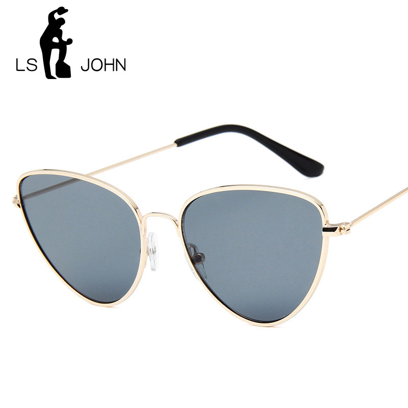 LS JOHN 2019 Brand Designer Cat Eye Sunglasses Women Vintage Metal Reflective Glasses For Women Mirror Retro Oculos De Sol Gafas