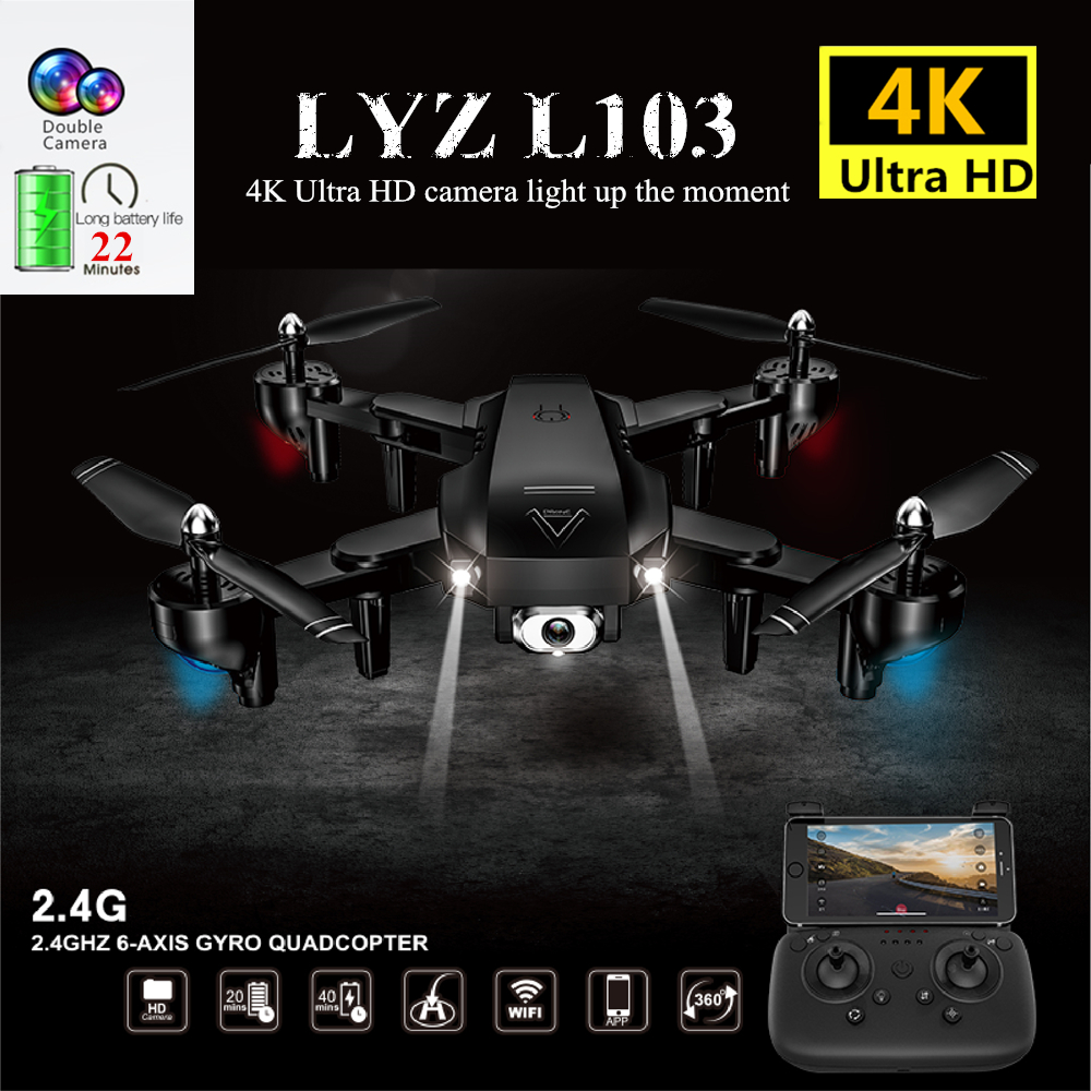 Foldable Drone 4K Automatic Beauty Camera RC Drones with WiFi HD Camera Optical Flow Positioning RC Helicopter Quadcopter Toy