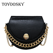 TOYOOSKY Hot New Alligator Flap Saddle Bag Women Small Crossbody Bags European Fashion Crocodile Leather Solid Chain Handbags