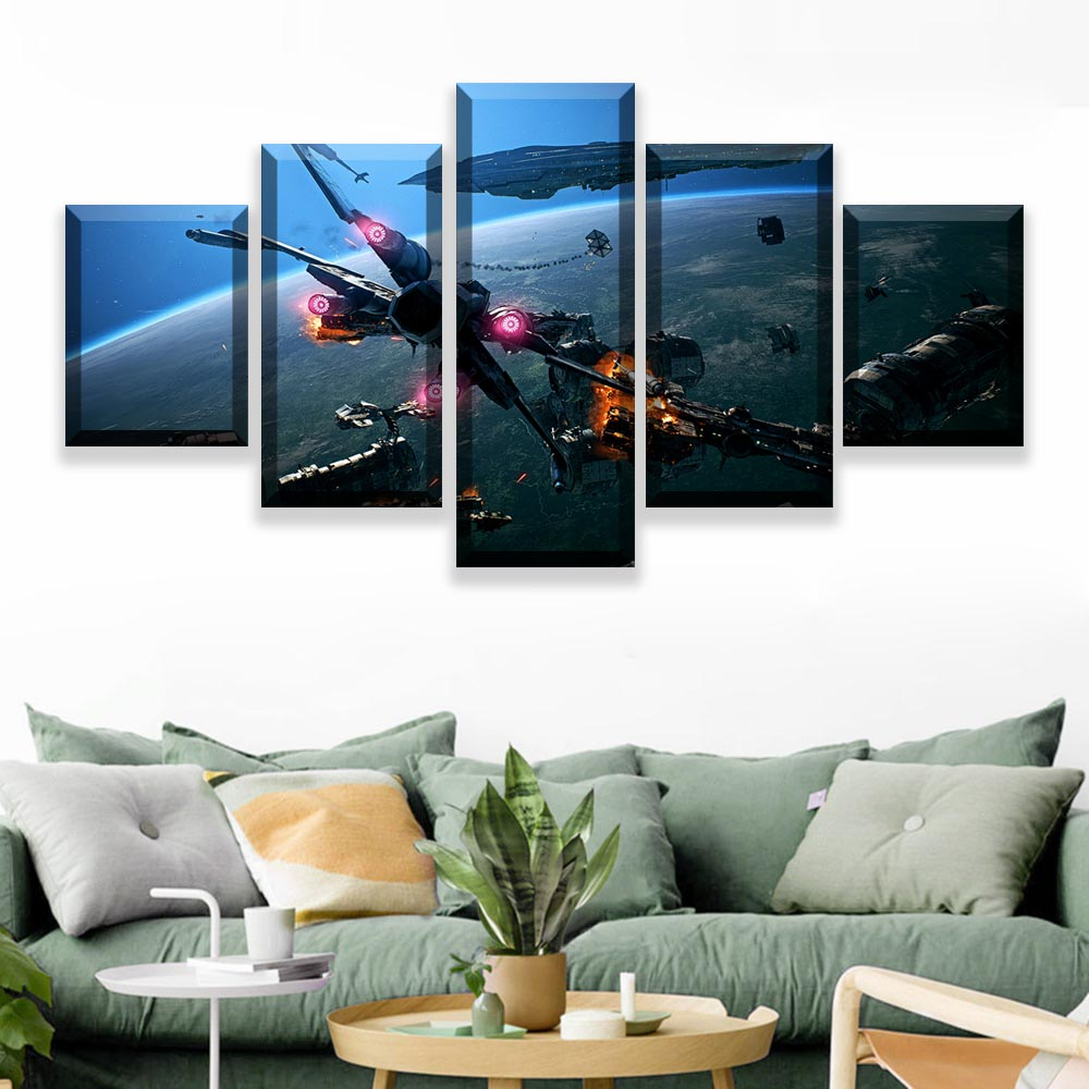 HD Prints Pictures Wall Art Canvas Posters Home Decor 5 Pieces Star Wars Movie Paintings For Living Room Framework (5)