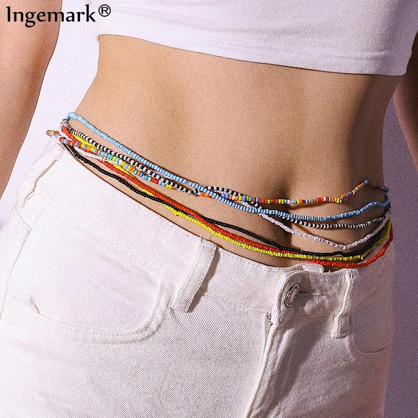 7Pcs Bohemian Waist Bead Body Jewelry Bikini Summer Beach African Gypsy Belt Colorful Beaded Belly Chain for Women Girls