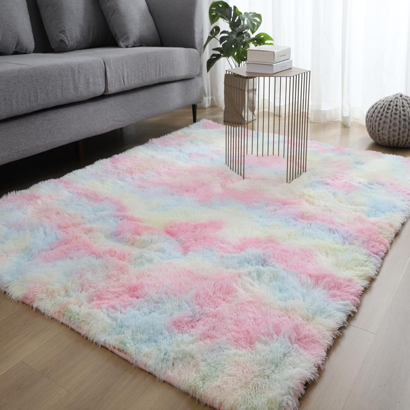 Nordic Style Ins Bedroom Net Red With The Same Paragraph Full Shop Cute Living Room Bedside Tie-dye Home Carpet Mat    Pink Rug