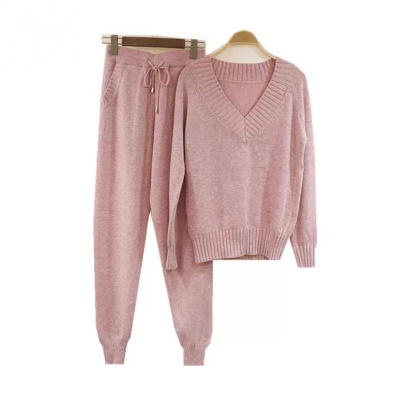 Women Knitted Tracksuit V-neck Sweater Casual Suit Autumn Winter 2 Piece Set Knit Pants Sporting Suit Femme Clothing