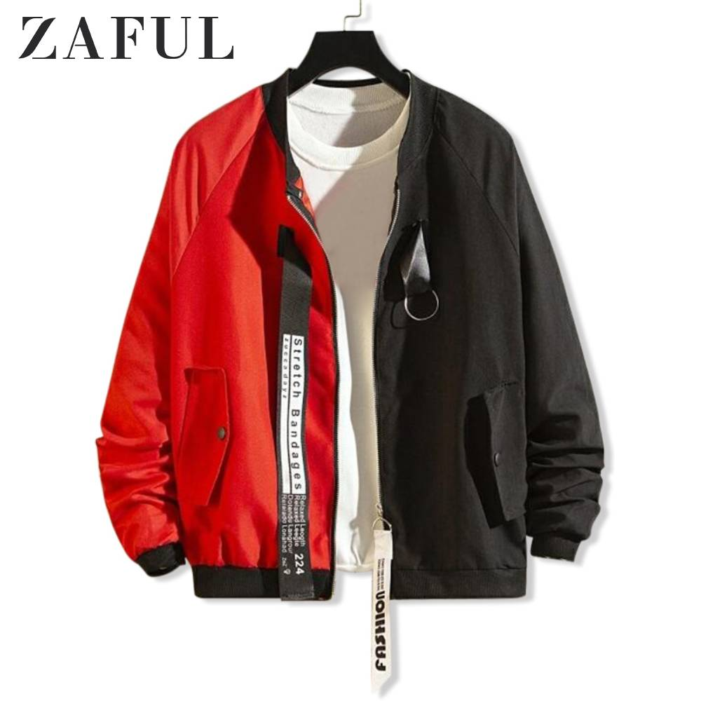 ZAFUL Letter Graphic Print Colorblock Spliced Jacket For Men Long Sleeves Contrast Color Casual Jacket Men Tops Streetwear