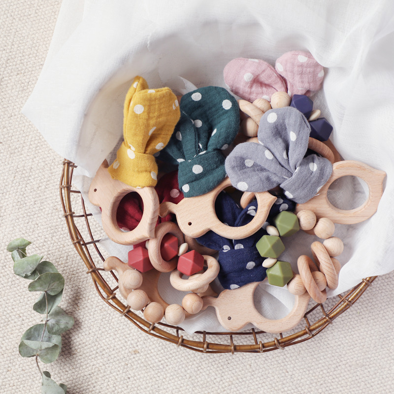 Baby Toys Rattles Set Crib Mobiles Silicone Beads Bracelet Infant Bed Bee Beech Wood Stroller Chain Bunny Ear Baby Rattle Toys