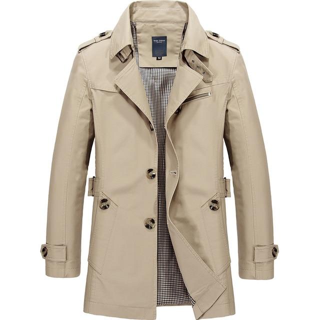 New Mens Business Jacket 2021 Fashion Autumn Men Long Cotton Windbreaker Jackets Overcoat Male Casual Winter Trench Outwear Coat 3