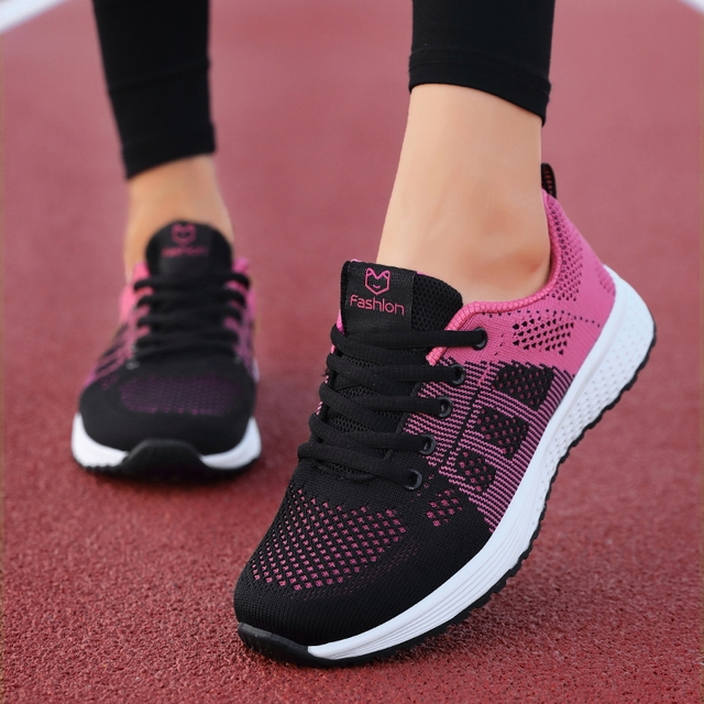 2020 Women Shoes Flats Fashion Casual Ladies Walking Woman Lace-Up Mesh Breathable Female Sneakers Zapatillas Mujer Feminino 2