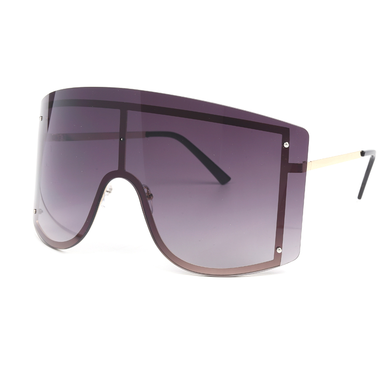 Oversized Women Blue Yellow Gradient Sunglasses Fashion Rimless Metal Female Shades Luxury Brand Designer Personality Eyewear 13