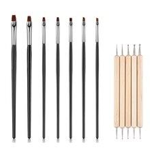 цена на 7pcs+5pcs Painting Nail Brush Set Gradient Nail Art Line Brush Crystal Acrylic Thin Liner Drawing Pen Tools for Extension UV Gel