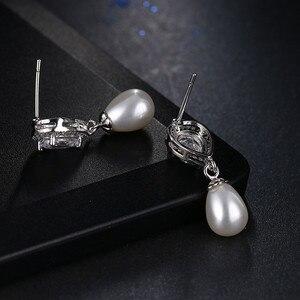 Image 3 - Luxe Vrouwelijke Dames Stone Stud Oorbellen Elegante Bruid Bruiloft Oorbellen Mode Zilveren Kleur Dubbele Parel Oorbellen Voor Vrouwen