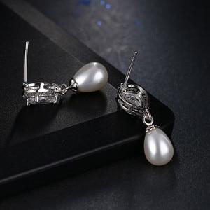 Image 3 - Luxury Female Ladies Stone Stud Earrings Elegant Bride Wedding Earrings Fashion Silver Color Double Pearl Earrings For Women