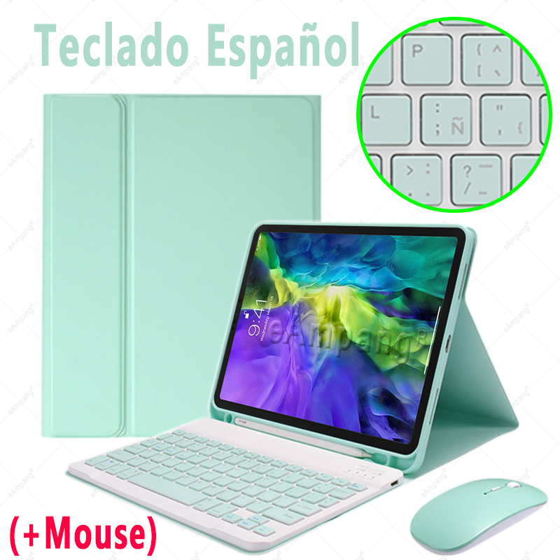 Spanish with Mouse Khaki For iPad Air4 10 9 2020 A2324 A2072 Keyboard Mouse Case English Russian Spanish Korean Keyboard