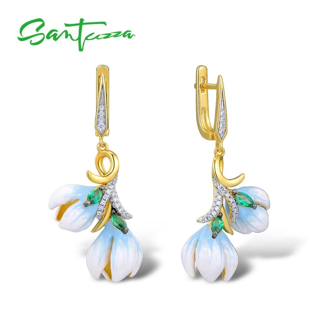 SANTUZZA Silver Earrings For Women Authentic 925 Sterling Silver Gold Color Delicate Orchid Flower Fine Jewelry Handmade Enamel