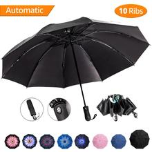 Reverse Umbrella Windproof Automatic Rain Women Men Black Coating Sun Inverted Parasol