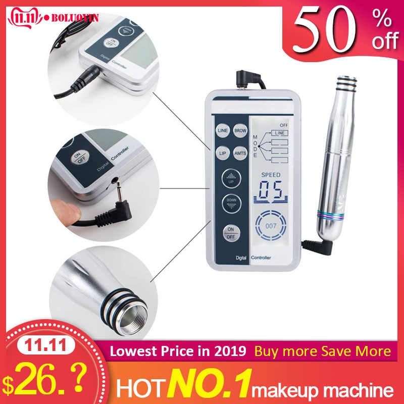 Pro Elektrische Digitale Controller Microblading Pen Kit Permanente Make-Up Pistool Set Wenkbrauw Lip Tattoo Machine + 6 stuks Cartridge Naalden