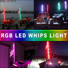 MOVOTOR 4FT RGB Waterproof Bendable Remote Control LED Whip Light for SUV ATV UTV RZR