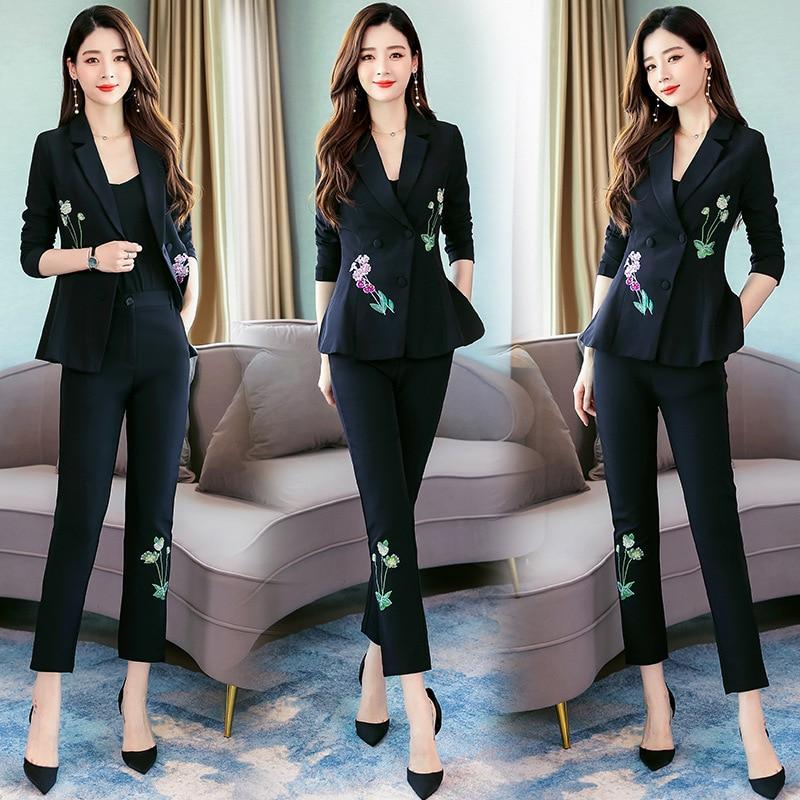 Autumn Suit WOMEN'S Suit 2019 Autumn New Style Fashion Two-Piece Set Embroidered Set