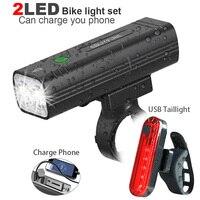Conjunto de farol para bicicleta de 5200mah  usb  recarregável  mtb  ciclismo  luz frontal  lâmpada traseira  funciona como carregador portátil acessórios