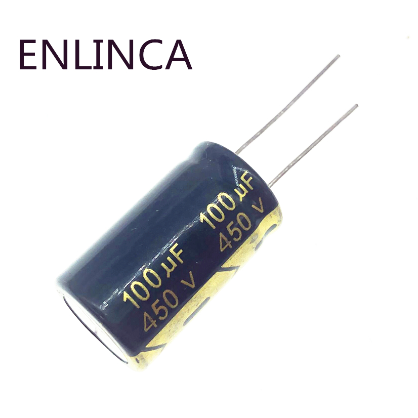 2pcs 5pcs <font><b>450v</b></font> <font><b>100UF</b></font> 450v100UF aluminum electrolytic <font><b>capacitor</b></font> size 18*30 20% image