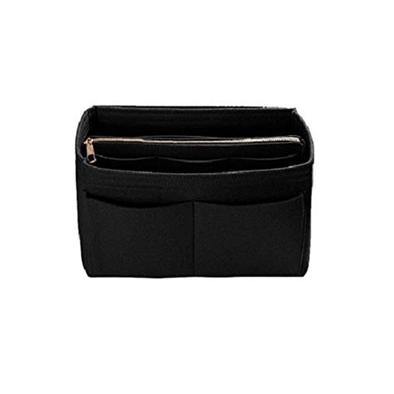 Home Storage Bag Purse Organizer Felt Insert Bag Makeup Organizer Inner Purse Portable Cosmetic Bags Storage Tote Black L image