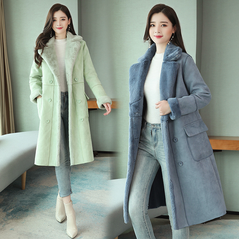 Y17350 New Style Korean-style Loose-Fit Fur Cotton-padded Jacket Mid-length Deerskin Velvet Cotton Coat Fashion