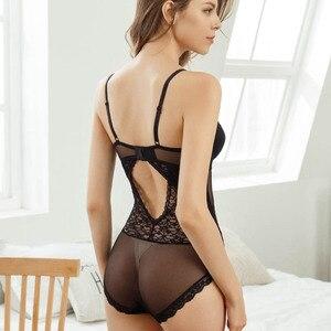 Image 4 - CINOON סקסי תחרה Bustier ומחוך נשים גמישות שקוף תחרה בגד גוף הלטר סרבל מקסים הלבשה תחתונה גותי מחוך