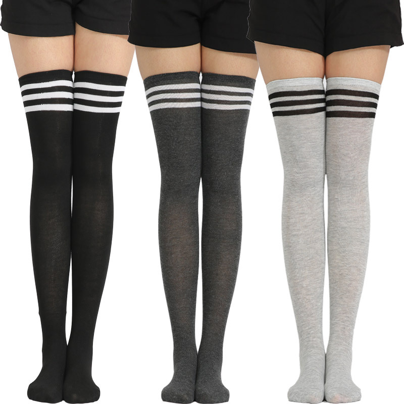 Kawaii <font><b>Lolita</b></font> Anime Socks Women Over Knee Stocking Tight Hight Cotton Cosplay Striped Student Sexy Wonder Woman Stockings image